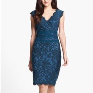 Tadashi Shoji Blue Embroidered Lace Sheath Dress 2